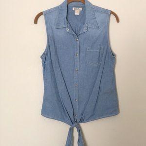 Lucky Brand Sleeveless Denim Button Down Shirt